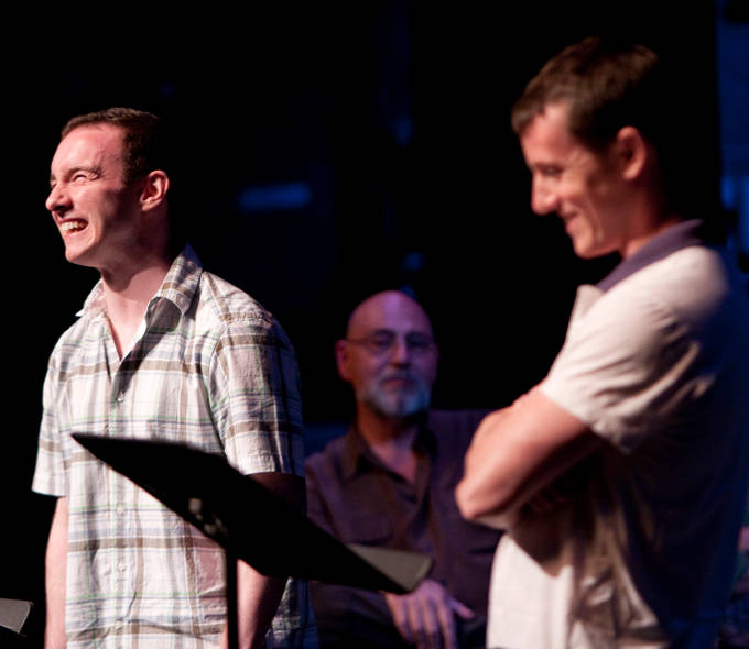 Jason Lott and Christopher Wolfe during a staged reading of Should Have Gone To Lourdes by Stephen Kennedy at the Lansburgh Theatre in Washington D.C. Photo: Bathsheba Fournier