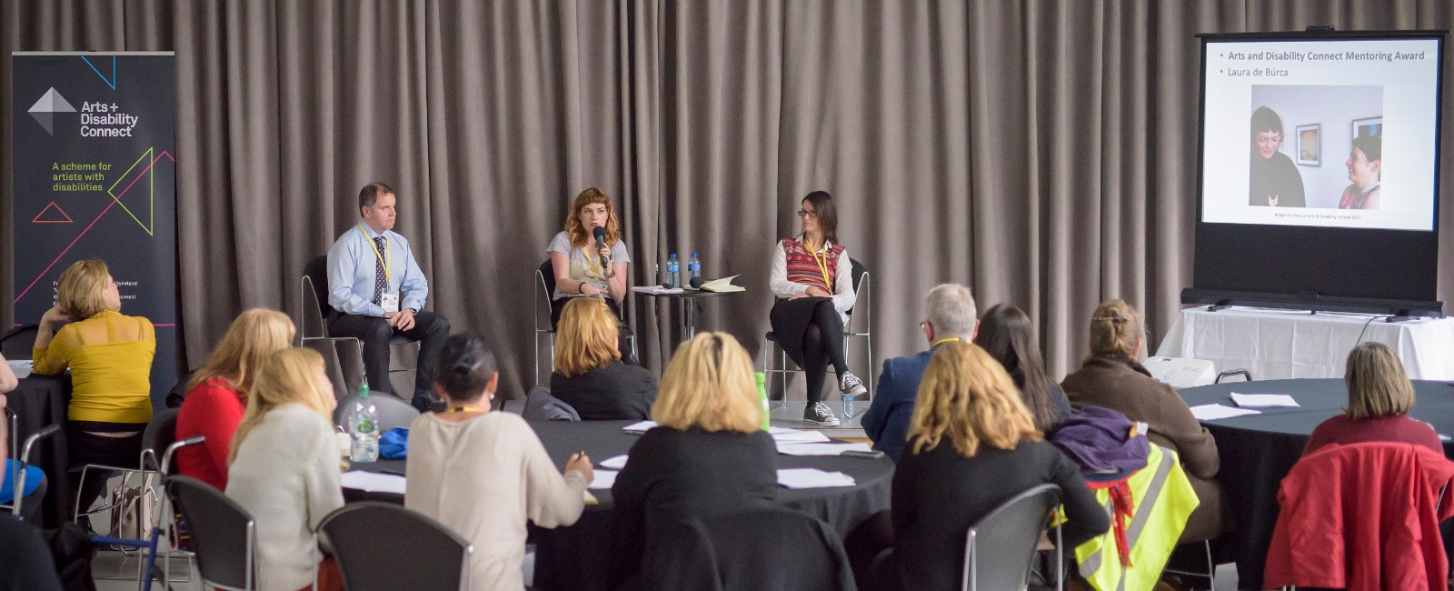 Pádraig Naughton, Maeve Mulrennan and Kath Gorman speak at an ADI event in Dublin.
