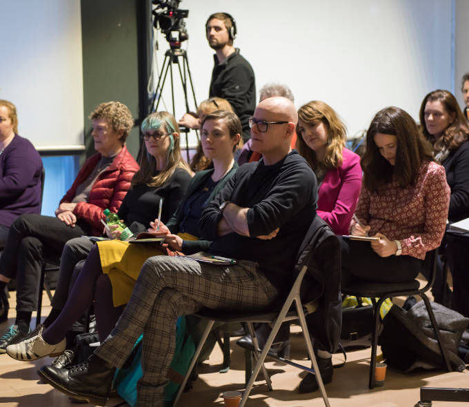 An image of audience at A Different Republic Seminar at the LAB Gallery