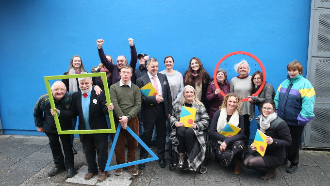 Members of Equinox Theatre Company, writer Louise Bruton and ADI staff outside the Project Arts Centre for the launch of ADI's strategic plan