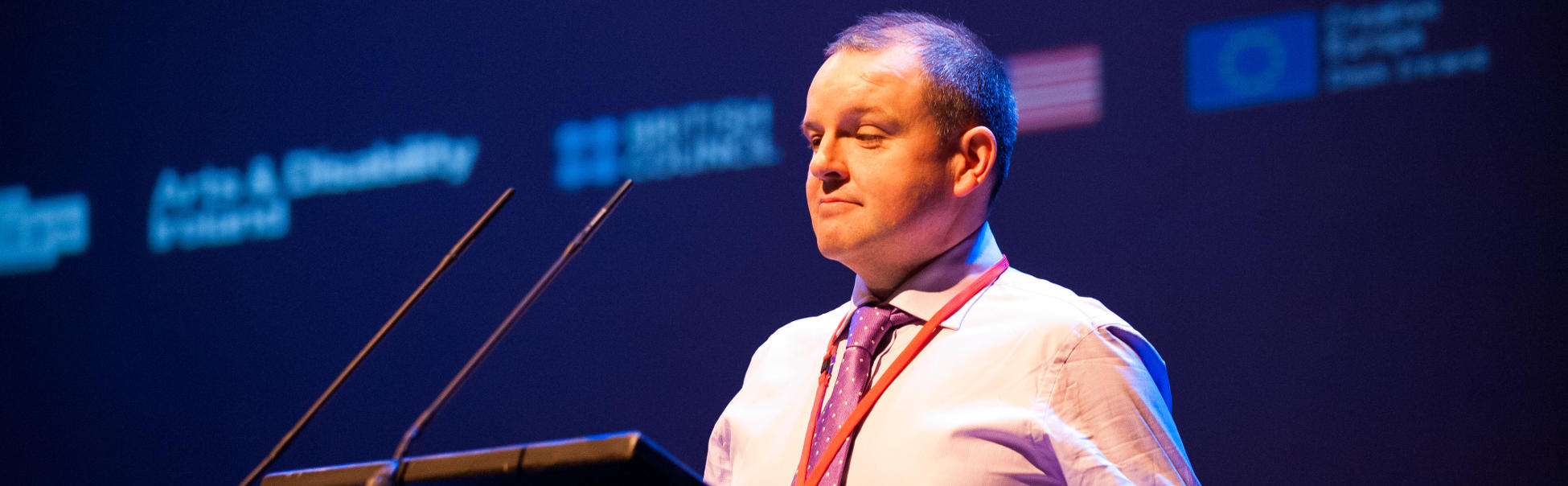 Pádraig Naughton, Director of Arts & Disability Ireland, speaking at the Creative Connections conference in Galway, January 2016