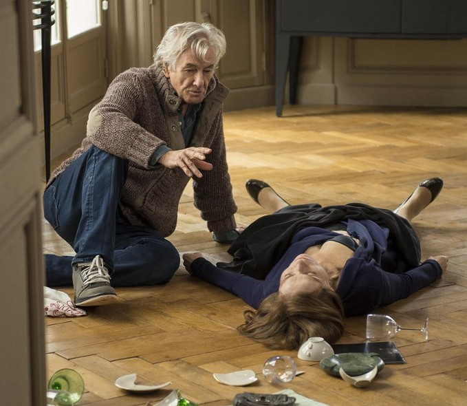 Paul Verhoeven directs Isabelle Huppert in a scene from Elle