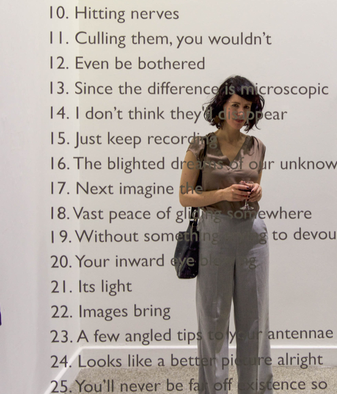 Suzanne Walsh, Couldn't find a link to somewhere, 2016. Vinyl text on glass.