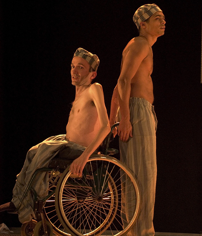 Donal with Milton Lopes in Graeae Theatre Company's Bent in 2004, which was the cover image for ADI's publication Face On. Photo: Patrick Baldwin.
