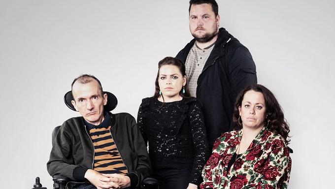 Actors Donal Toolan, Grainne Hallahan, John Connors and Neili Conroy in Rosaleen McDonagh's Mainstream, Project Arts Centre, November 2016