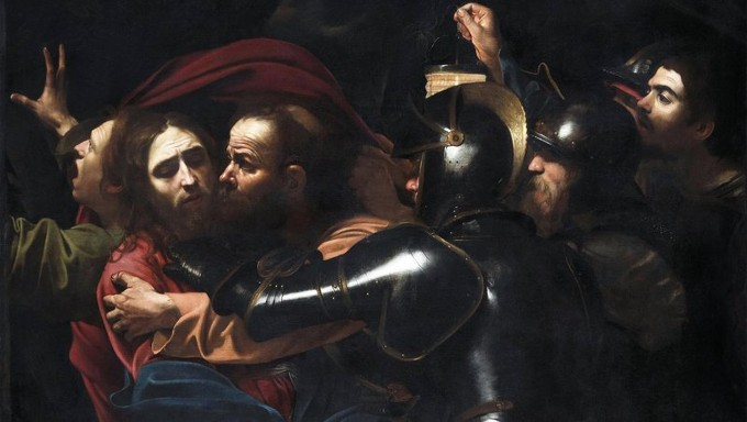 Michelangelo Merisi da Caravaggio (1571-1610) The Taking of Christ, 1602. On indefinite loan to the National Gallery of Ireland from the Jesuit Community.