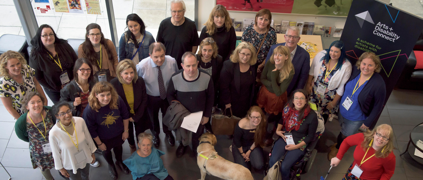 Artists, speakers and facilitators at the Arts and Disability Connect Professional Development Event in DanceHouse, 20th September, 2017. Photo by Louis Haugh.