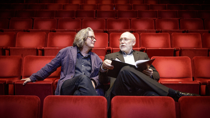 Writer Dermot Bolger (right) and Graham McLaren, director of the Abbey at the Abbey Theatre ahead of the upcoming adaptation of Ulysses which Dermot has written and Graham is directing. Picture: Arthur Carron