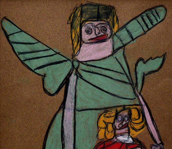 Angela Burchill, William Blake Angel Series IV, pastel pencil on paper, 2015