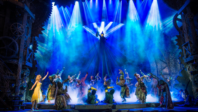 Amy Ross as Elphaba in Wicked's Defying Gravity scene, the show's first act finale.