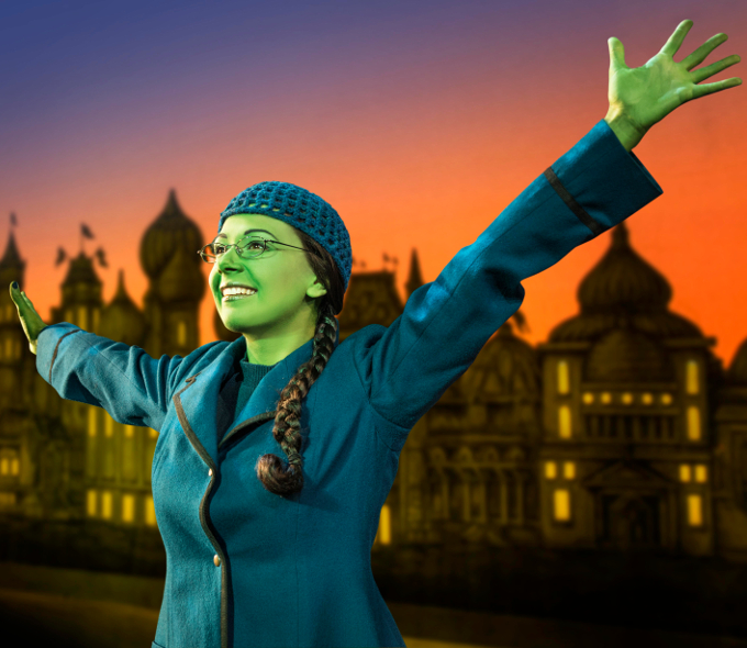 Amy Ross as Elphaba in Wicked.