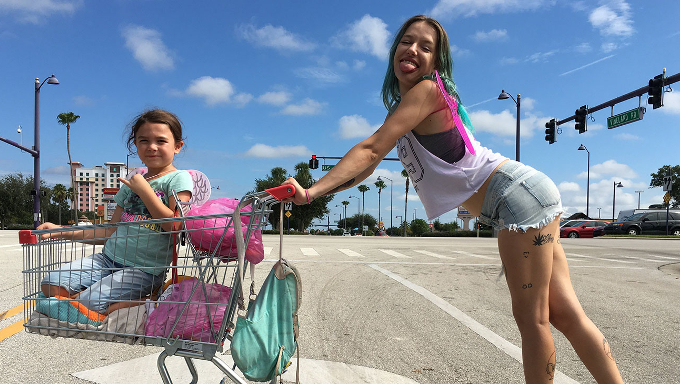 Six year old Moonee (Brooklynn Prince), with her mother Halley (Bria Vinaite) in Sean Baker's The Florida Project