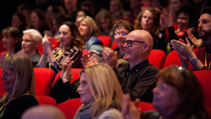 Audience members at the Creative Connections: Arts and Disability Conversation and Showcase conference in Town Hall Theatre, Galway, January 2016. Photo: REG GORDON