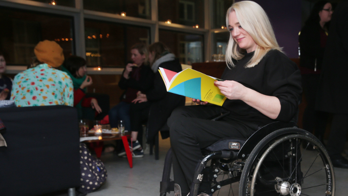 Louise Bruton at the launch of Arts & Disability Ireland's strategic plan Leading Change in Arts and Culture 2017 - 2021, Project Arts Centre, 30th November, 2017