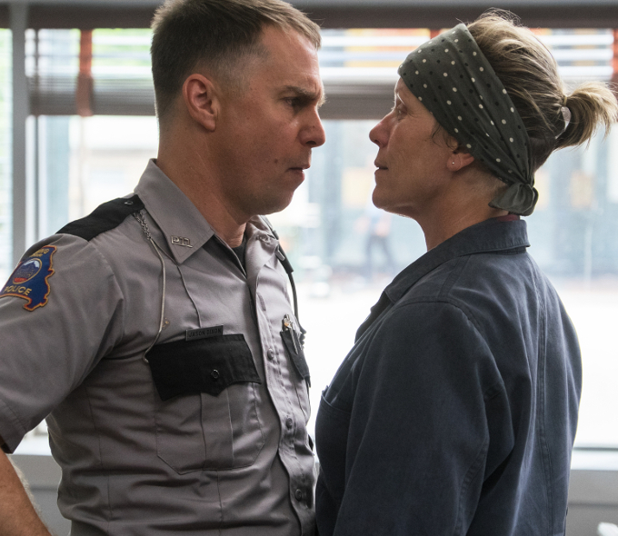 Sam Rockwell as Dixon and Frances McDormand as Mildred in Three Billboards Outside Ebbing, Missouri