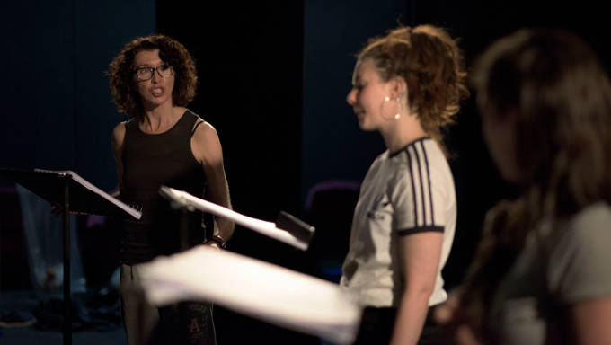 Ruth Lehane as Yulia and Áine Ní Laoghaire as Neon in a rehearsed reading of Roderick Ford's Ob Gob in the Abbey Theatre (Peacock Stage), Friday, July 28th, 2017. Photo credit: Louis Haugh