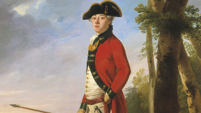 Portrait of an officer of an Irish Volunteer Regiment in a wooded landscape, holding a spontoon, John Trotter (died 1792). Private collection.