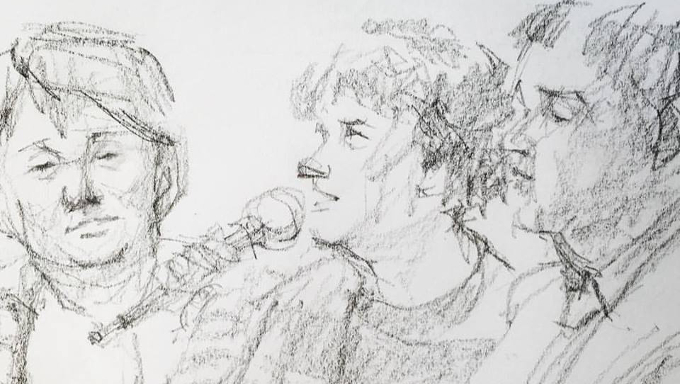Sketch of Veronica Pardo, Emma Bennison and Pádraig Naughton during the panel Leadership through a Different Lens at the Other Film Festival in Melbourne on 29th September, 2016.