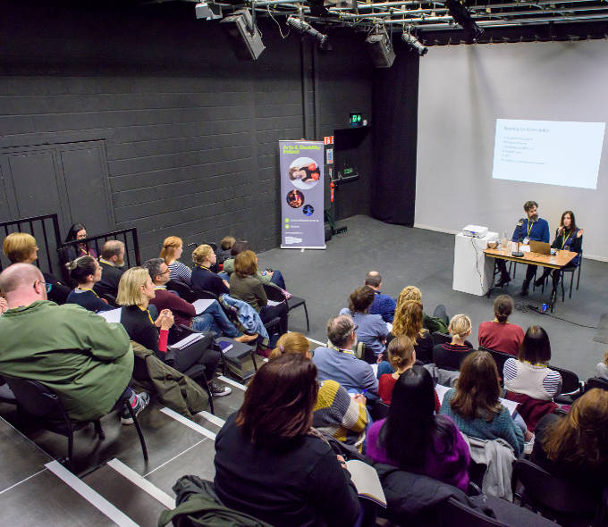 Evan Hatfield and Christena Gunther speaking to venues, galleries, museums and festivals attending the Partners in Progress: Access Seminar event at Project Arts Centre, Dublin 1