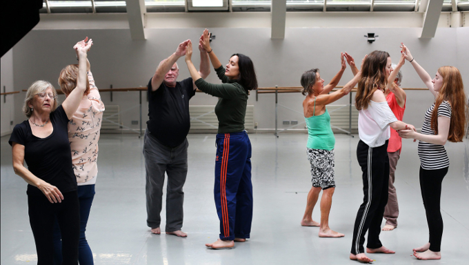 A Dance for All workshop at the Dance Theatre of Ireland in Dun Laoghaire in full swing. Photo: Steve Humphreys