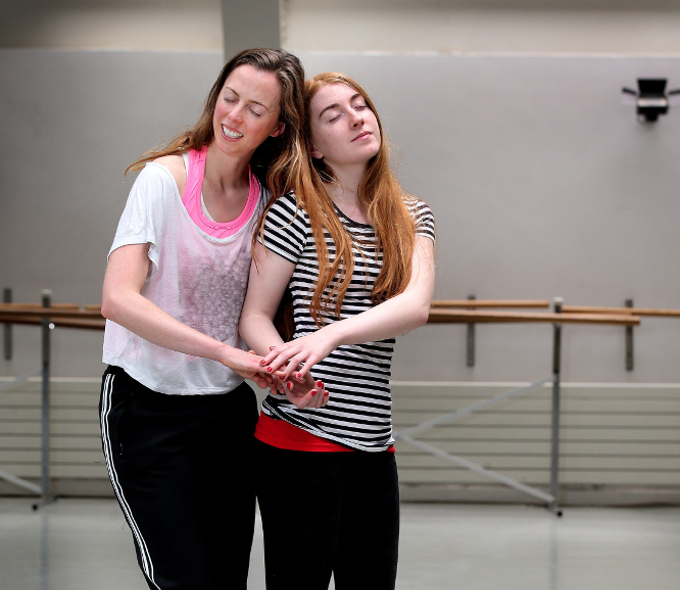 Dance choreographer Laura Sarah Dowdall with Helena Mollaghan from Sandyford. Out of sight on the ground is Helena's dog Alfie. Photo: Steve Humphreys
