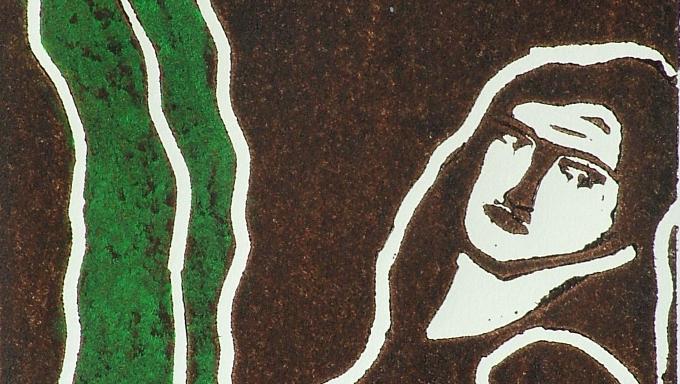 Francis Casey, Ex-Beatle George Harrison, Lino Print on Paper.