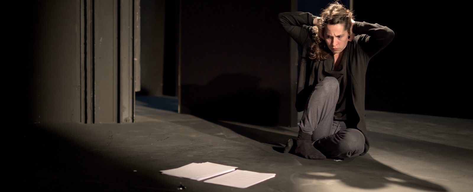 Stephanie Dufresne in a rehearsed reading of Roderick Ford's Ob Gob on the Abbey Theatre's Peacock Stage, July 2017. Ob Gob was developed under an Arts and Disability Connect New Work Award. Photo credit: Louis Haugh