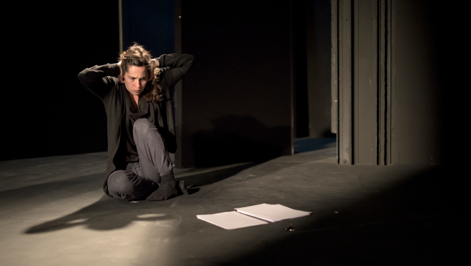 Stephanie Dufresne as Ob Gob in a rehearsed reading of Roderick Ford's Ob Gob in the Abbey Theatre (Peacock Stage), Friday, July 28th, 2017. Photo credit: Louis Haugh