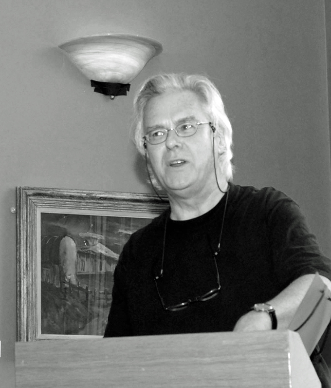 Roderick Ford reads from a volume of his poetry in the Irish Writers Centre. Photo credit: Iggy McGovern
