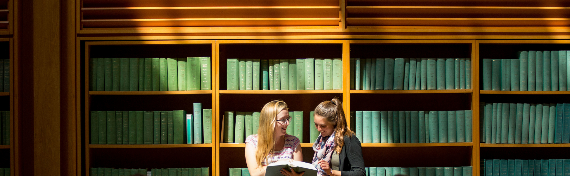 University of Limerick general views with students, Leanne Markham and Michelle Lee, Glucksman Library.