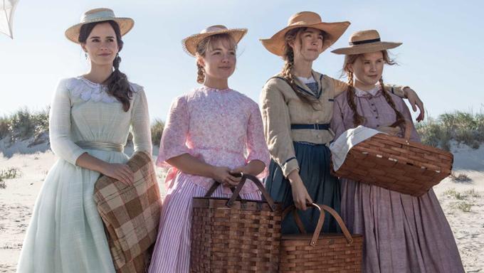 Jo March (Saoirse Ronan), Beth (Eliza Scanlen), Meg (Emma Watson) and Amy (Florence Pugh) in the 2019 film Little Women (2019)