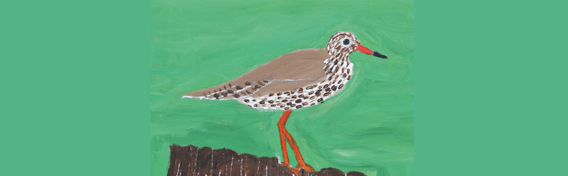 A painting of a curlew perching on a piece of wood, against a bright green background.