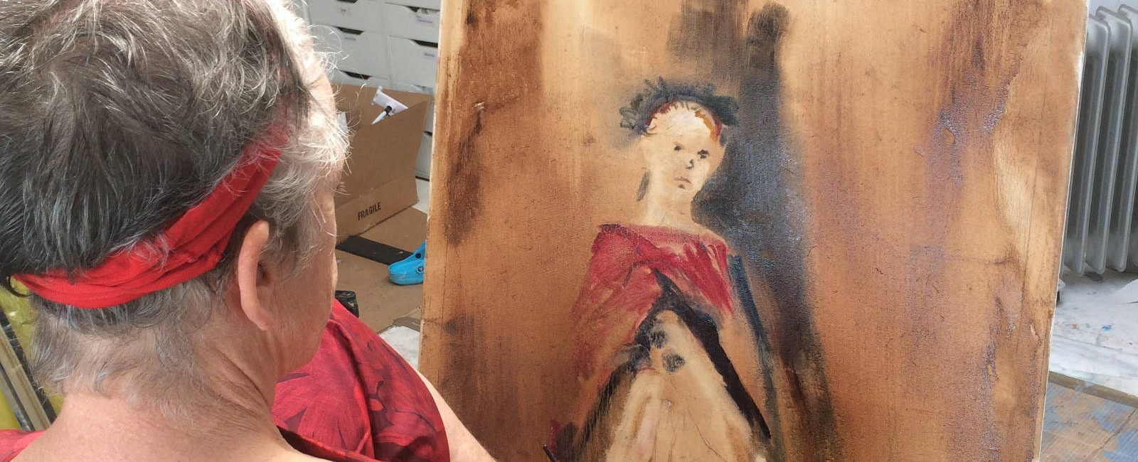 Visual artist Mary Duffy at work in her studio.