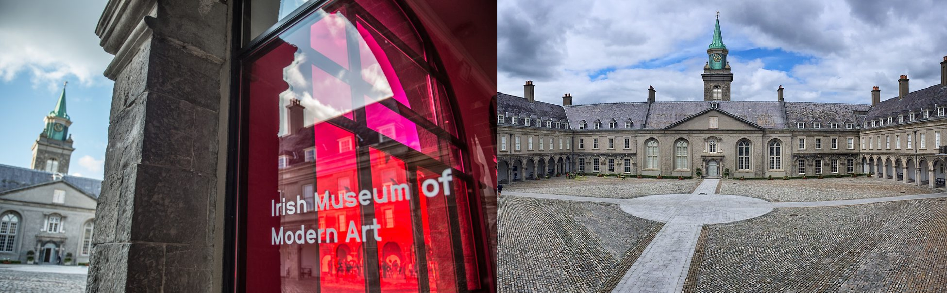 Two images. Firstly, a view outwards towards the courtyard featuring pink vinyl and IMMA branding and secondly, a view of IMMA's North Range building and internal courtyard from the first floor looking down.
