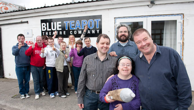Padraig Naughton, director of Arts & Disability Ireland, Gavin Kostick, Dramaturge, Fishamble: The New Play Company, Emer Macken, actor, the Blue Teapot theatre company,screenwriter Len Collin and members of the BLue Teapot theatre group pictured outside the Blue Teapot HQ announcing the unique writers commission whereby Len will write a film screenplay which will be publically premiered as part of Culture Night 2011. The project is thanks to a collaboration between Arts and Disability Networking and Fishamble. Photo: Reg Gordon