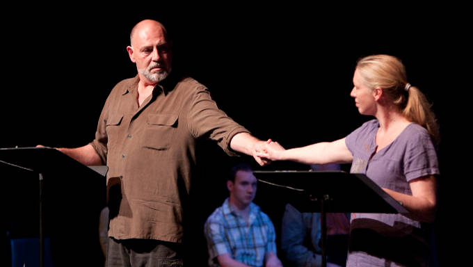 Brian Hemmingsen and Nanna Ingvarsson during staged reading of 'Ellipsis' by John Austin Connolly at the Lansburgh Theatre in Washington D.C. Photo: Bathsheba Fournier