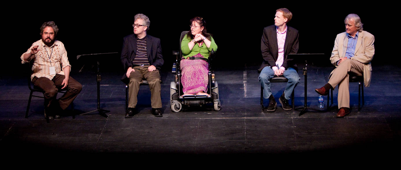 Turning Point writers Steve Daunt, Rosaleen McDonagh, Stephen Kennedy and John Austin Connolly during a post reading discussion with Gavin Kostick. Photo:Bathsheba Fournier