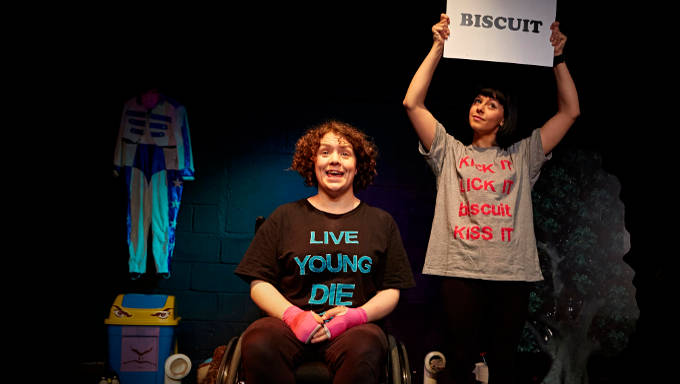Jess Thom and Jess Mabel Jones performing in Backstage for Biscuit Land