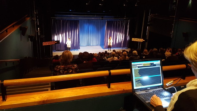 Live captioning in the Pavilion Theatre, 21st May, 2016.