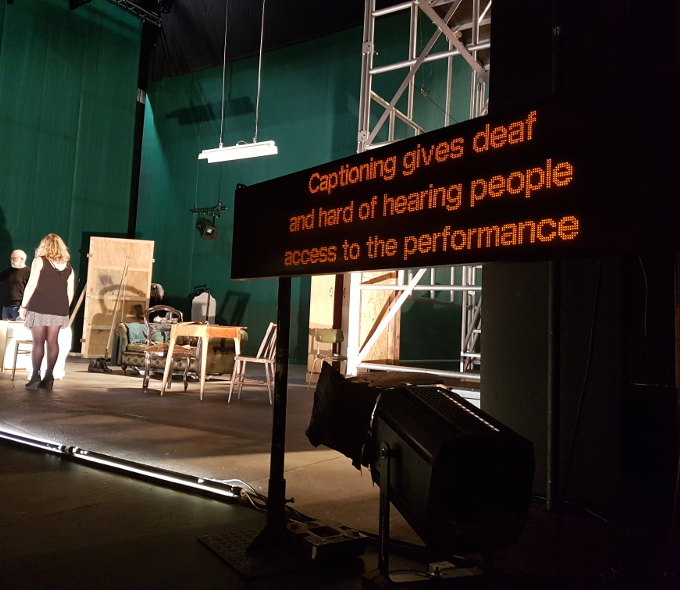 Captioning unit in situ in the National Opera House for a performance of The Plough and the Stars