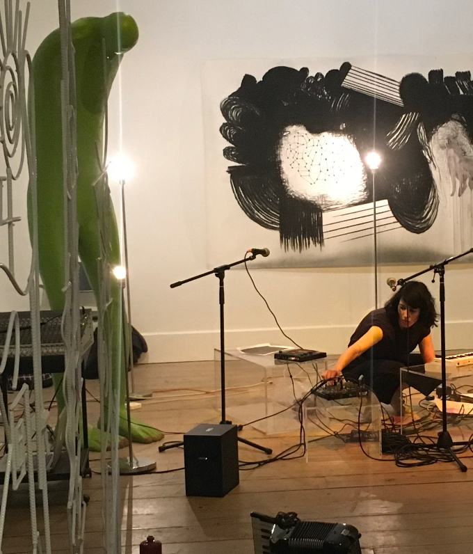 Suzanne Walsh, The Model Gallery, Sligo, Culture Night 2017. Using instruments, improvisation, pre-recorded sounds and vocals transdisciplinary artist Suzanne Walsh created a live, immersive soundscape surrounded by the work of Dutch artists Arno Kramer and Henk Visch.