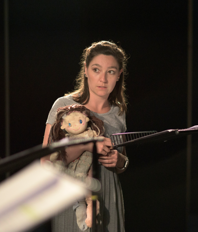 Cara Christie as Caoimhe holding Lindy the doll (design Helen McGinty) in a rehearsed reading of Roderick Ford's Ob Gob in the Abbey Theatre (Peacock Stage), Friday, July 28th, 2017. Photo credit: Louis Haugh