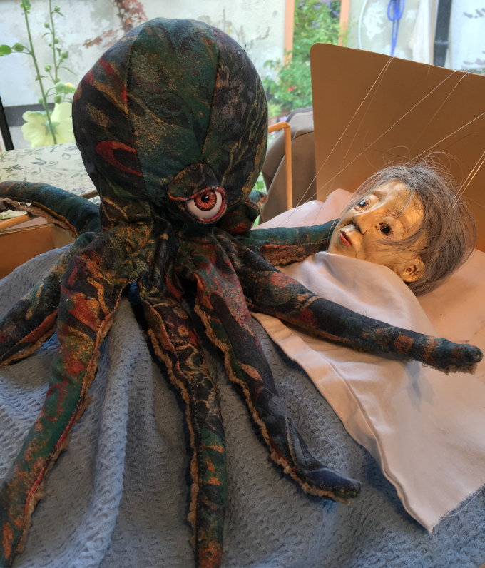 Puppets and 'Invisible Octopus' work in progress at the studio, 2019. Photo Corina Duyn