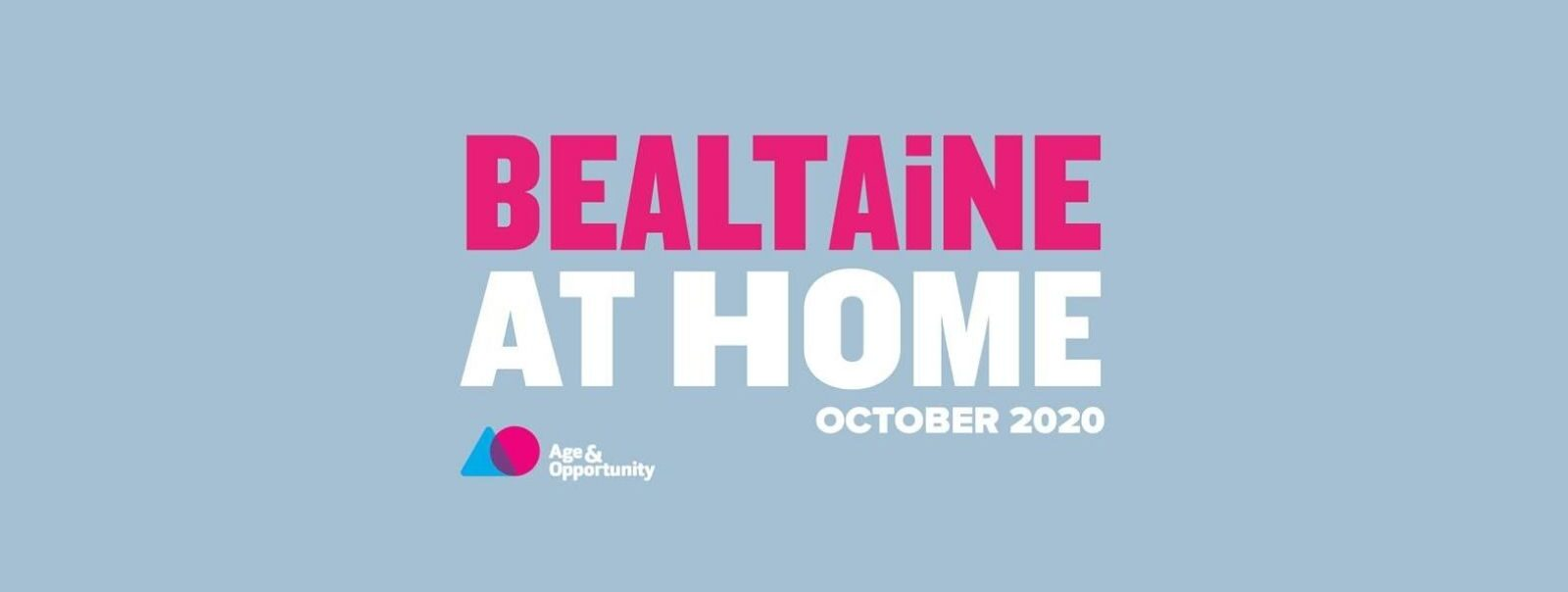 'Bealatine' in pink and 'At Home - October 2020' in white text on a light blue background with Age & Opportunity's logo in the bottom right corner.