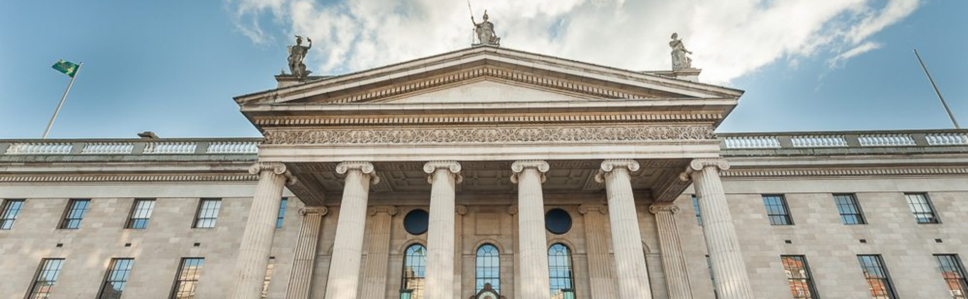 Exterior of GPO Museum on a bright day in Dublin.