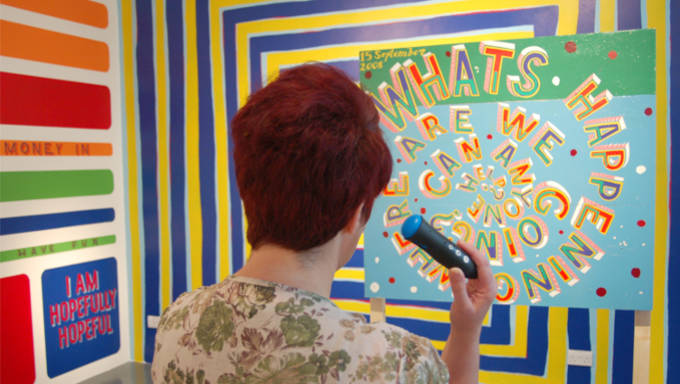 Visitor using Discovery Pen at Butler Gallery Kilkenny