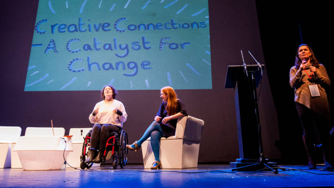 Jess Thom aka Touretteshero speaks to Niamh Ní Chonchubhair, Programme Manager at axis:Ballymun while Caroline O'Leary ISL interprets the panel at Creative Connections Conference Galway 2016. Photo: Reg Gordon