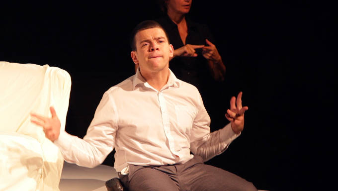 ISL interpreter at If These Spasms Could Speak by Robert Softley Gale, Dublin Theatre Festival 2014